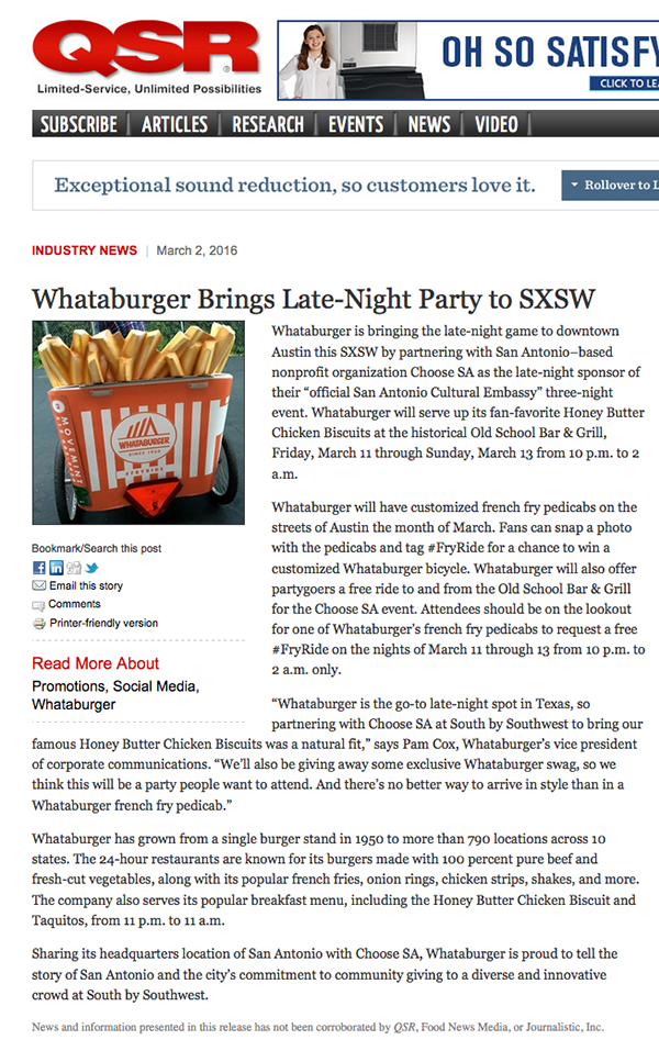 Whataburger SXSW #FryRide